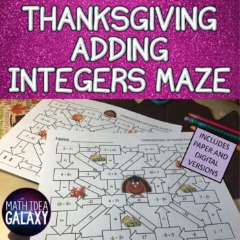 Thanksgiving Math Integers Activity: Maze Games