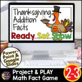 Thanksgiving Math Activities | 2nd 3rd Grade Addition Math Fact Fluency Game