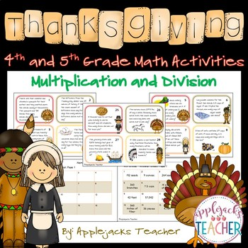 Thanksgiving Math Activities - 4th and 5th Grade - Multiplication and Division