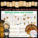 Thanksgiving Math Activities - 4th and 5th Grade - Multipl