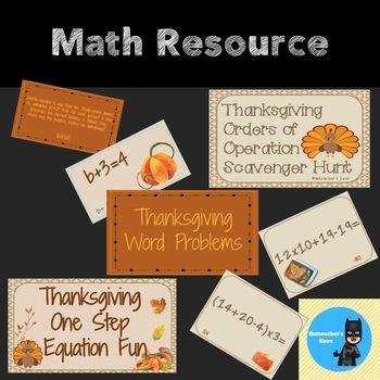 Thanksgiving Math Activities Bundle - BONUS added!