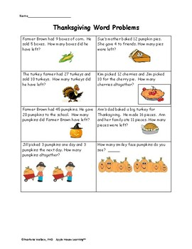 Guided Math:  Thankgiving and Fall Math 1st and 2nd Grade CCSS Aligned