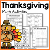 Thanksgiving Math Activities - No Prep - Just Print