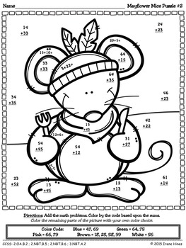 Thanksgiving Math Activities ~ Mayflower Mice ~ Color By The Code Puzzles