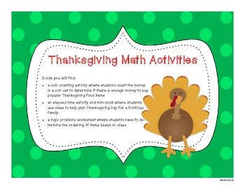 Thanksgiving Math Activities - Money/Coins, Elapsed Time and Logic
