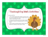 Thanksgiving Math Activities - Money/Coins, Elapsed Time a
