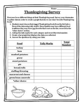 Thanksgiving Math Activities - Survey - Fun Activity! Thanksgiving Math 2nd