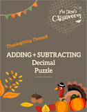 Thanksgiving Math Activity - Adding and Subtracting Decimal Game!