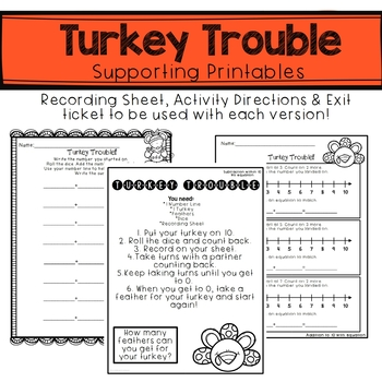 Thanksgiving Math Activity- Addition and Subtraction on a Number Line