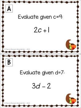 Thanksgiving Math Activity - Evaluating Algebraic Expressions