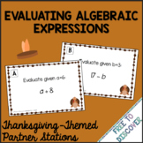 Thanksgiving Math Activity - Evaluating Algebraic Expressions