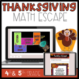 Thanksgiving Math Activity Grades 4 and 5, Escape Room Theme