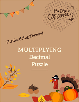 Thanksgiving Math Activity - Multiplying Decimal Game!