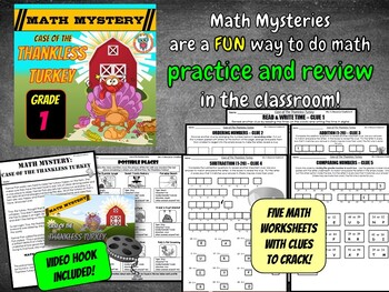 Thanksgiving Math Activity Mystery: Case of The Thankless Turkey (GRADE 1)