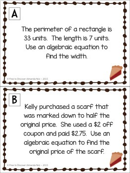 Thanksgiving Math Activity - Solving 2-Step Equations