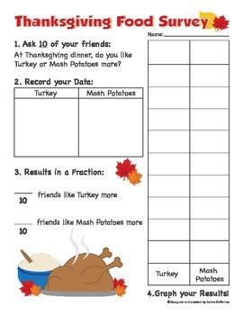 Thanksgiving Math Activity Survey