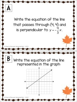 Thanksgiving Math Activity - Writing Linear Equations
