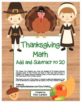 """""""Thanksgiving Math"""" Add and Subtract Within 20 Common Core"""
