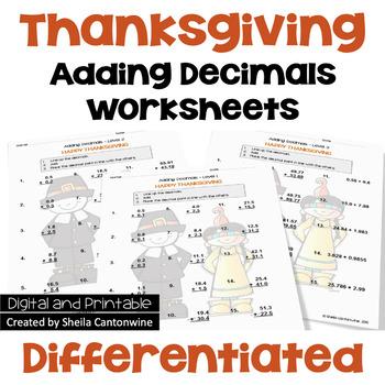 Thanksgiving Adding Decimals Worksheets (3 Levels)