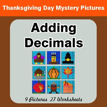 Thanksgiving Math: Adding Decimals - Color-By-Number Math Mystery Pictures