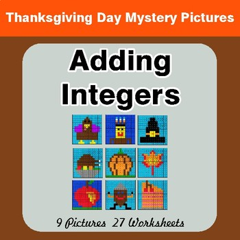 Thanksgiving Math: Adding Integers - Color-By-Number Math Mystery Pictures