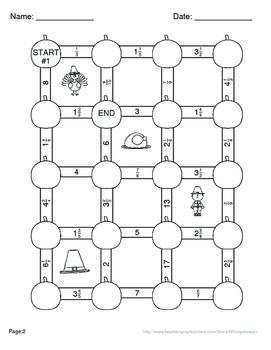 Thanksgiving Math: Adding Like Fractions Maze