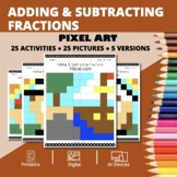Thanksgiving: Adding and Subtracting Fractions Pixel Art M