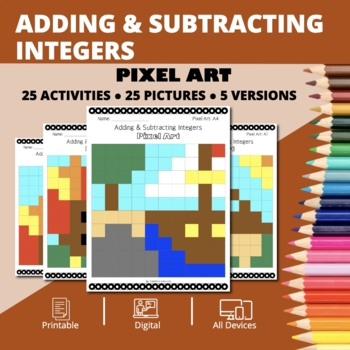 Thanksgiving: Adding and Subtracting Integers #2 Pixel Art Mystery Pictures