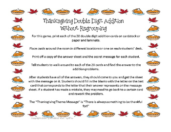 Thanksgiving Math Addition 2 Digit (WO Regrouping) Task Card with secret message