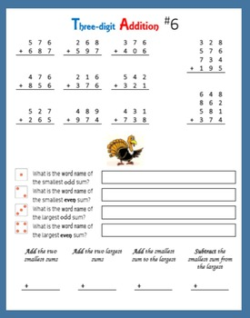 Thanksgiving Math:  Addition