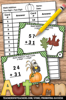 Thanksgiving Math Games Double Digit Addition Activities Task Cards Centers