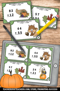 Thanksgiving Math Centers Double Digit Addition without Regrouping Task Cards