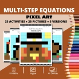 Thanksgiving: Algebra Multi-Step Equations Pixel Art Myste