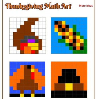 Thanksgiving Math Art - 2 Versions - Fractions, Decimals, and/or Percents