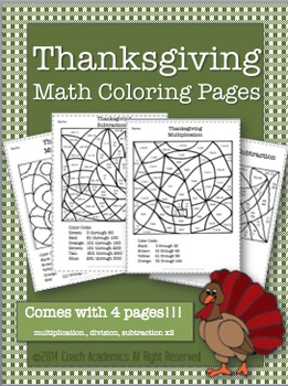 Thanksgiving Math Coloring Pages