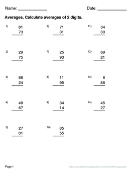 Thanksgiving Math: Average of 2 digits Maze
