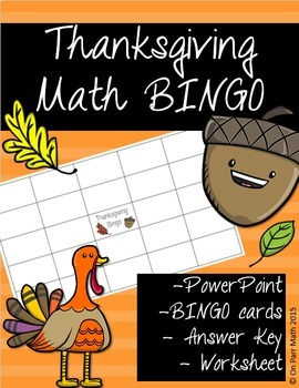 Thanksgiving Math Bingo!