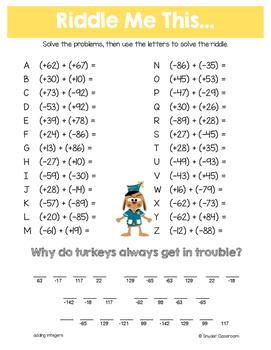 Thanksgiving Math Riddles: Middle School Bundle