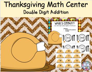 Thanksgiving Math Center 2 Digit Addition