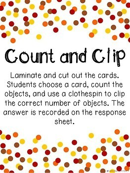 Thanksgiving Math Center - Counting Clip Cards