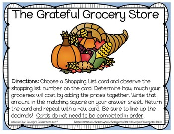 Thanksgiving Math Center: Grateful Grocery