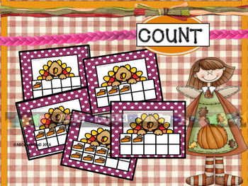 Thanksgiving Math Center- Match the numeral, number word and ten frame quantity!