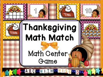 Thanksgiving Math Center- Match the numeral, number word a