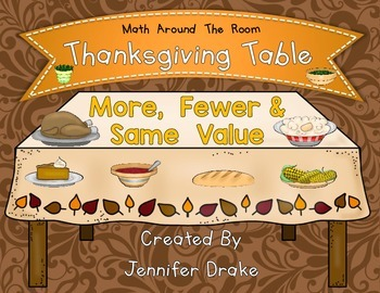 Thanksgiving Math Center More, Fewer & Same Value