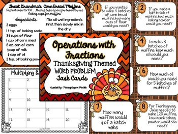 Thanksgiving Math Center:  Operations with Fractions