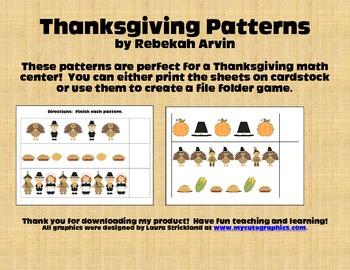 Thanksgiving Math Center: Patterns!
