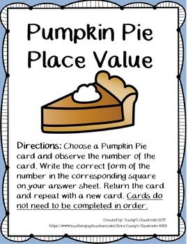 Thanksgiving Math Center: Pumpkin Pie Place Value