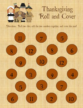 Thanksgiving Math Center: Roll, Add, and Cover!