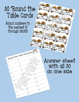 Thanksgiving Math Center: 'Round the Table Rounding