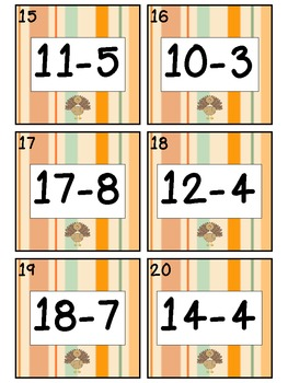 Thanksgiving Math Center: Simple Subtraction